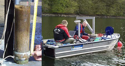 Sediment probe (left) and ADCP measurements (right).
