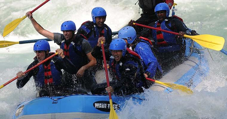 Whitewater rafting team event