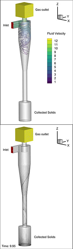 Simulation of a cyclonic separation device,