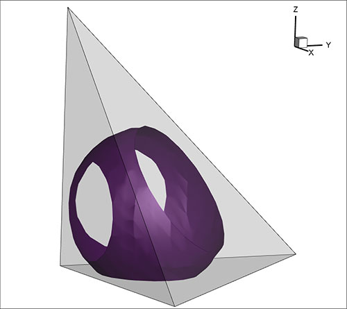 2-Isosurface in a quadratic tetrahedra