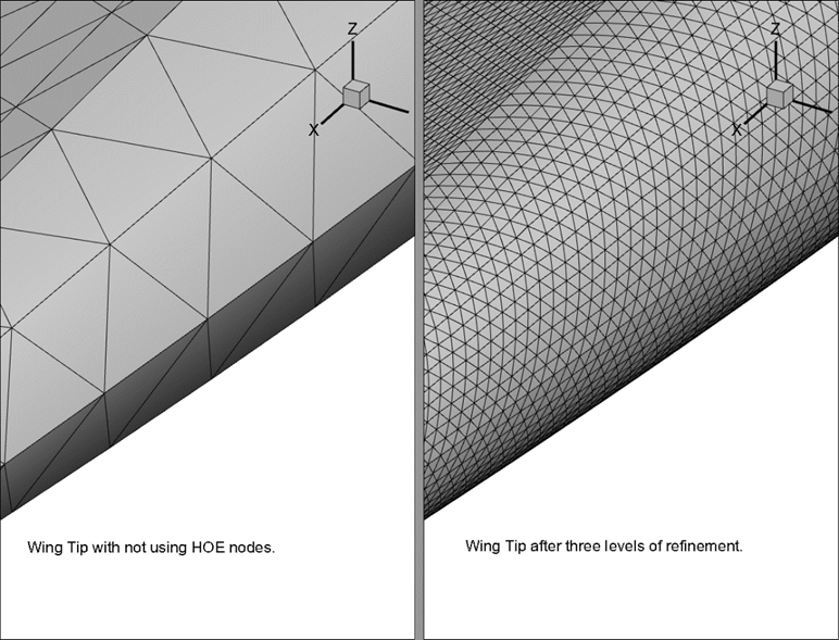 Wing Tips with and without HOE nodes