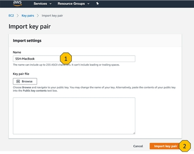 AWS-console-Import-key-pair