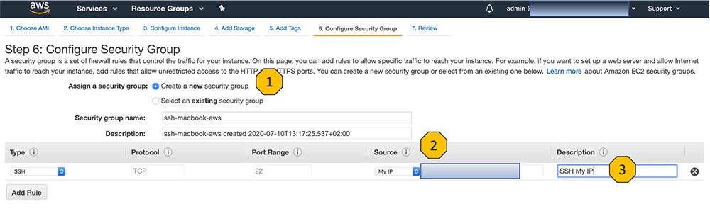AWS Console Configure Security Group