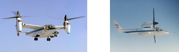 XV-15 in its helicopter mode (left) and airplane mode (right)